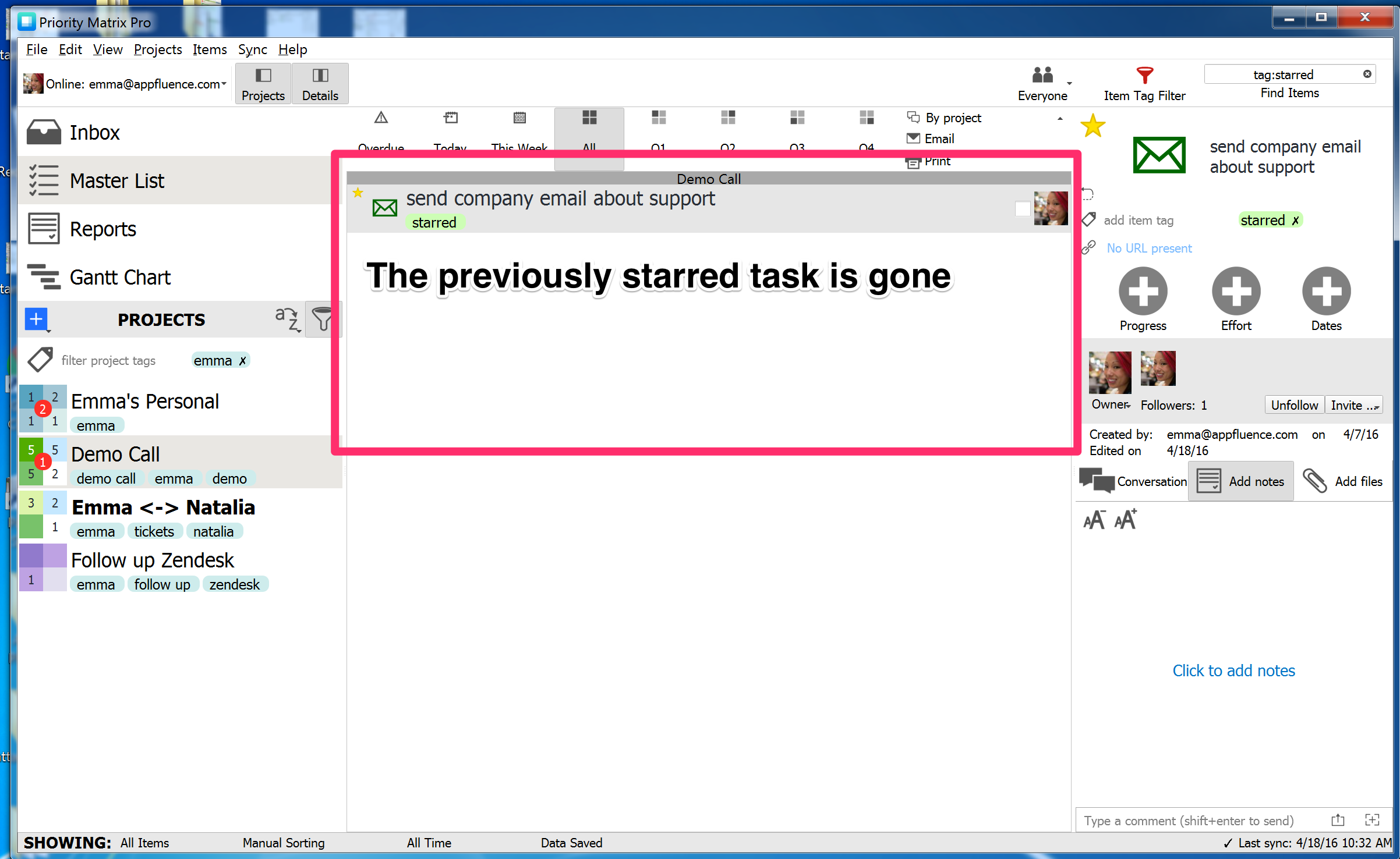 star and deselect starred tasks in windows