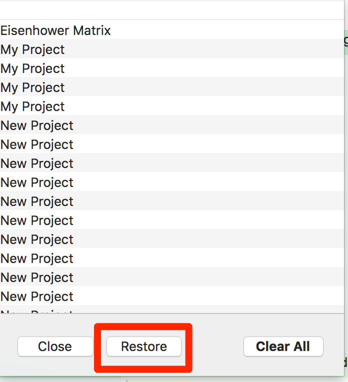 restore deleted projects