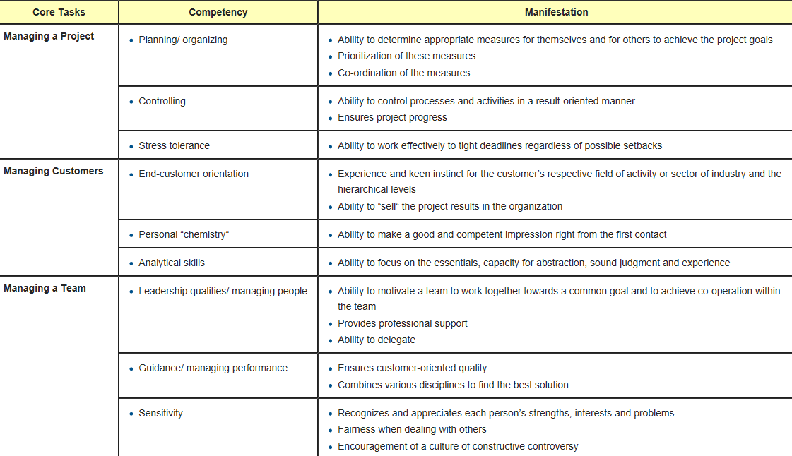 project manager skills matrix template