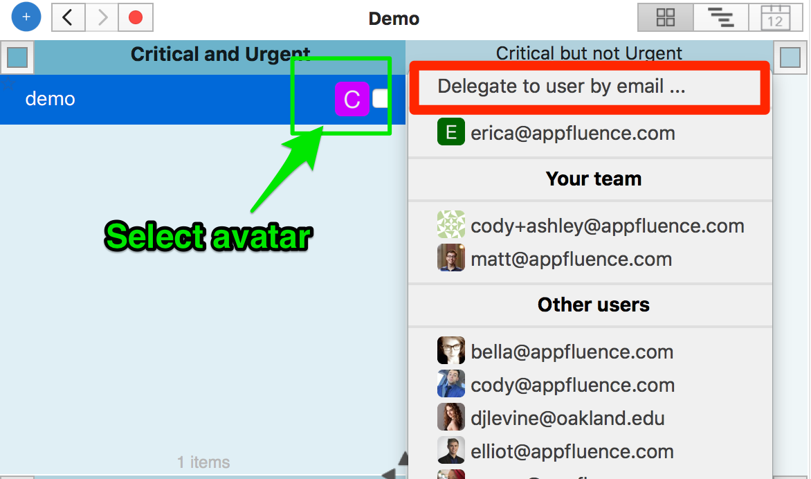 delegate to user by email