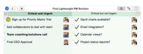 Workload Management Template in Excel - Priority Matrix