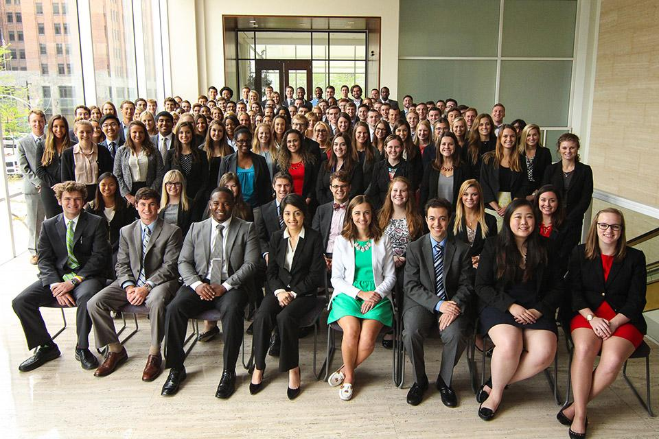 Baird's robust internship program provides in-depth experience to more than 200 students from a wide range of backgrounds. Interns posed for a photo at the special summer welcome event.