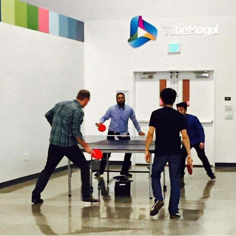 CEO taking a break to play ping pong!