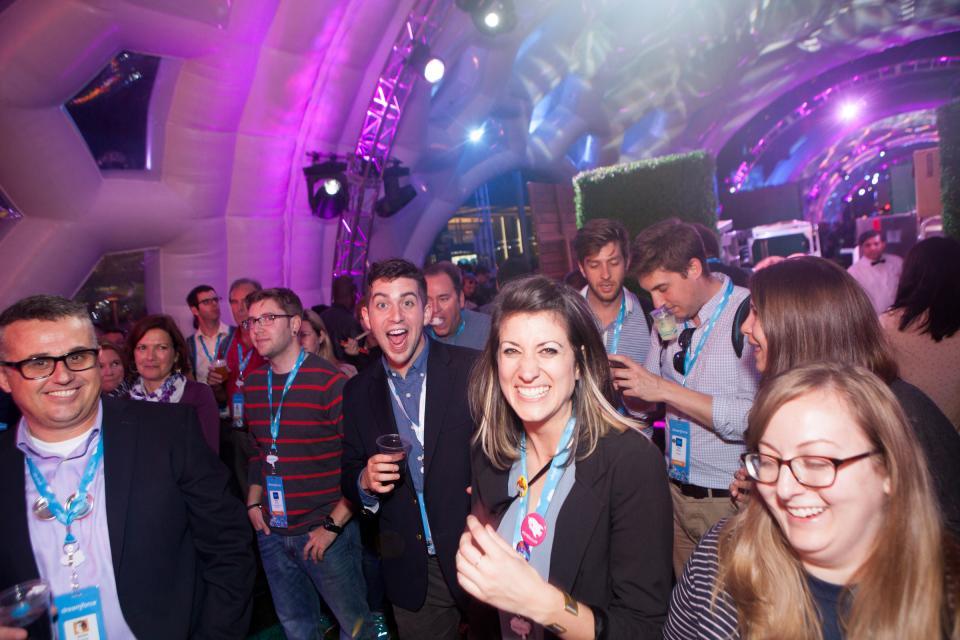 Employees celebrating at Dreamforce