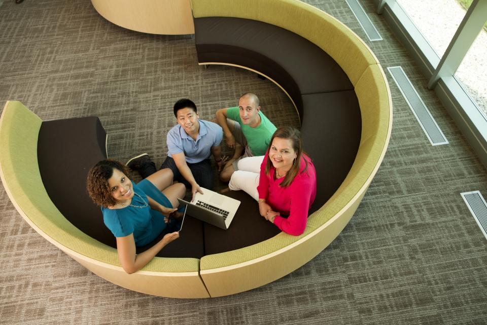 SAS campus features many conversation spots for brainstorming.