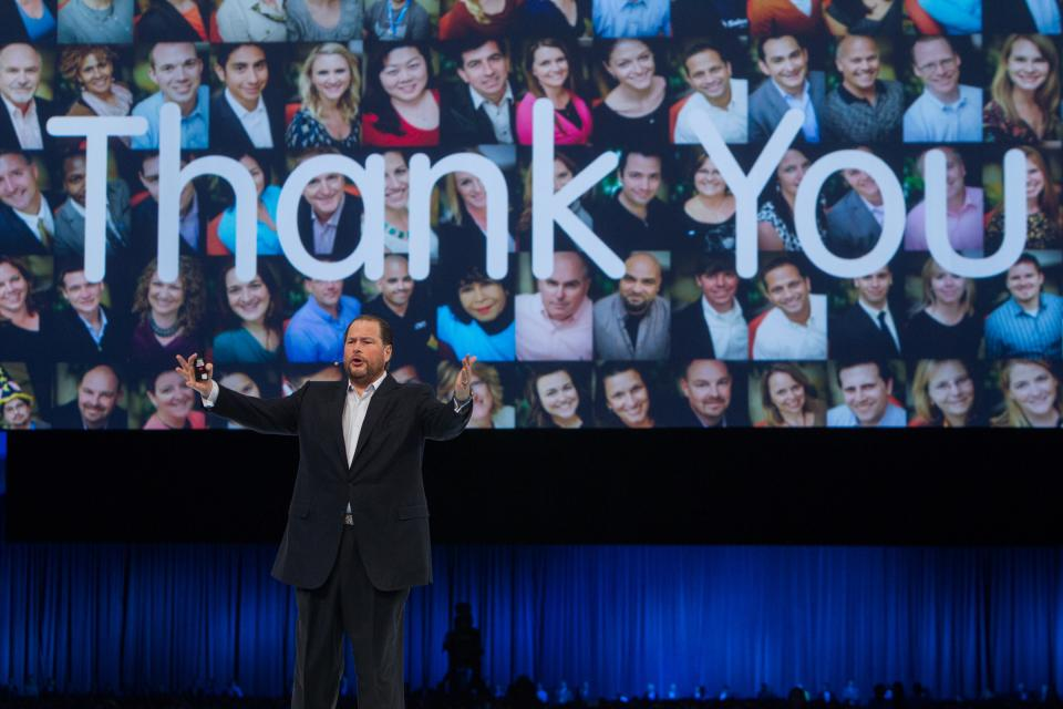 CEO Marc Benioff giving thanks at Dreamforce