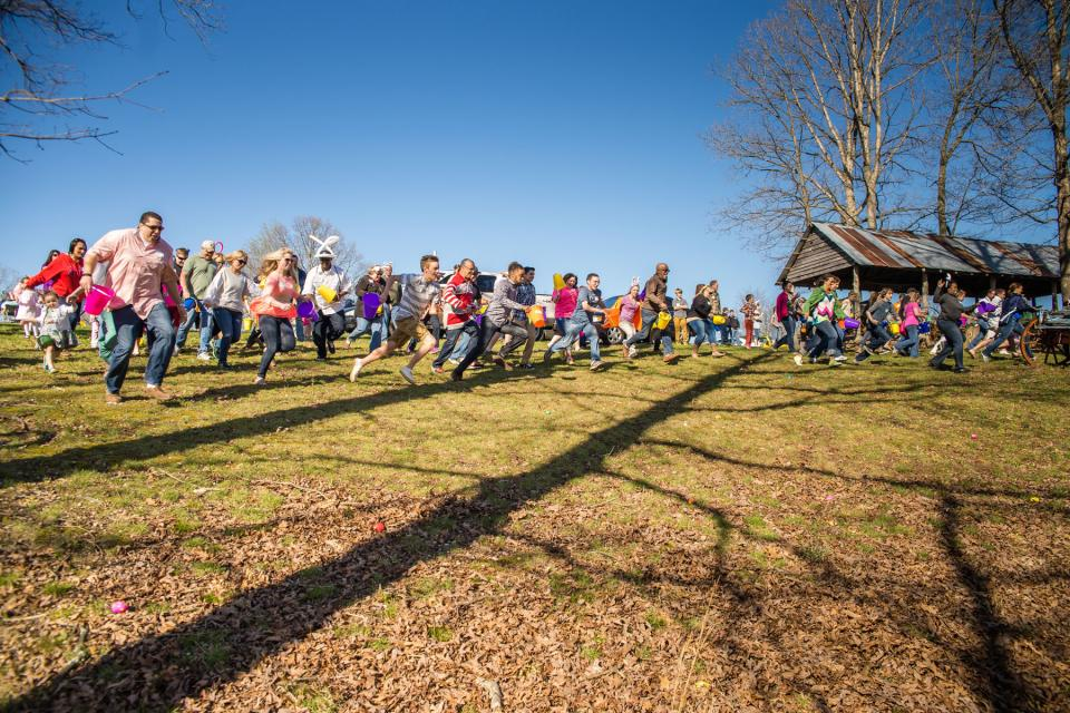 Adults get their own Easter egg hunt, complete with a golden egg, at Pinnacle's annual family picnic. The Nashville event is held the day before Easter and features food, games, inflatables and pictures with the Easter Bunny.