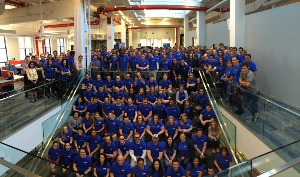 Yodle's New York employees gather for a group photo.