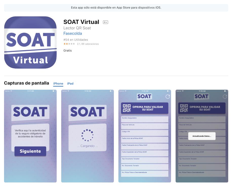 imagen de cómo luce la aplicación del Soat virtual
