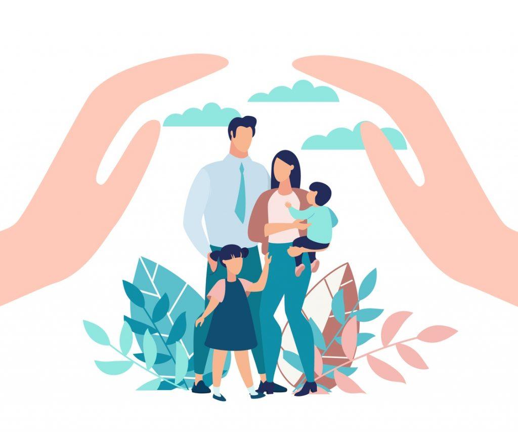 Ilustración familia- mitos seguros de vida
