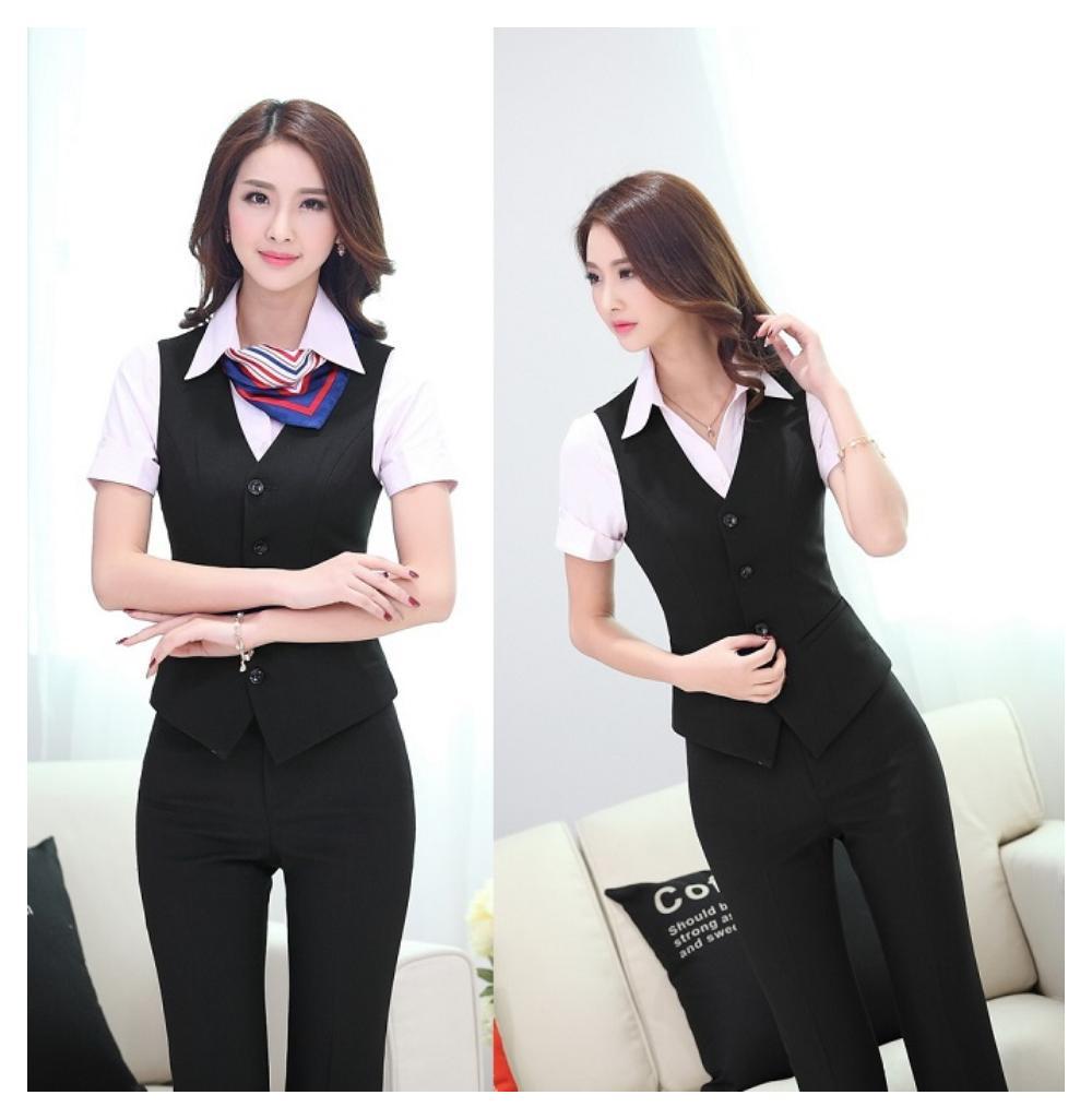 Image is loading Uniform-Design-Business-Suits-Vest-Pants-Women-Ladies- - Uniform Design Business Suits Vest + Pants Women Ladies Office