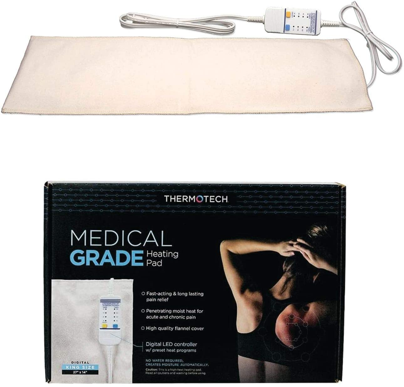 Medical Grade Heating pad with Automatic Moist Heat by Thermotech, High Heat Heating pad for Back Pain and Cramps - Extra Large King Digital - 26