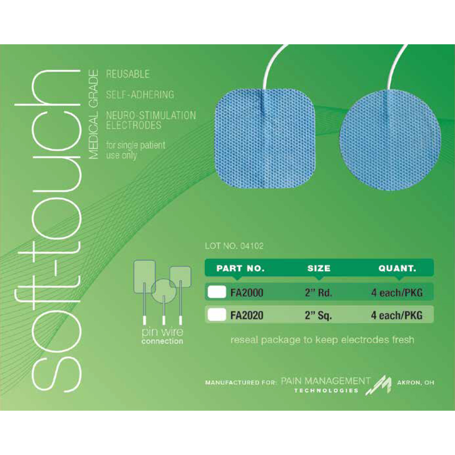Soft-Touch Carbon Electrodes cloth back (PMT gel)