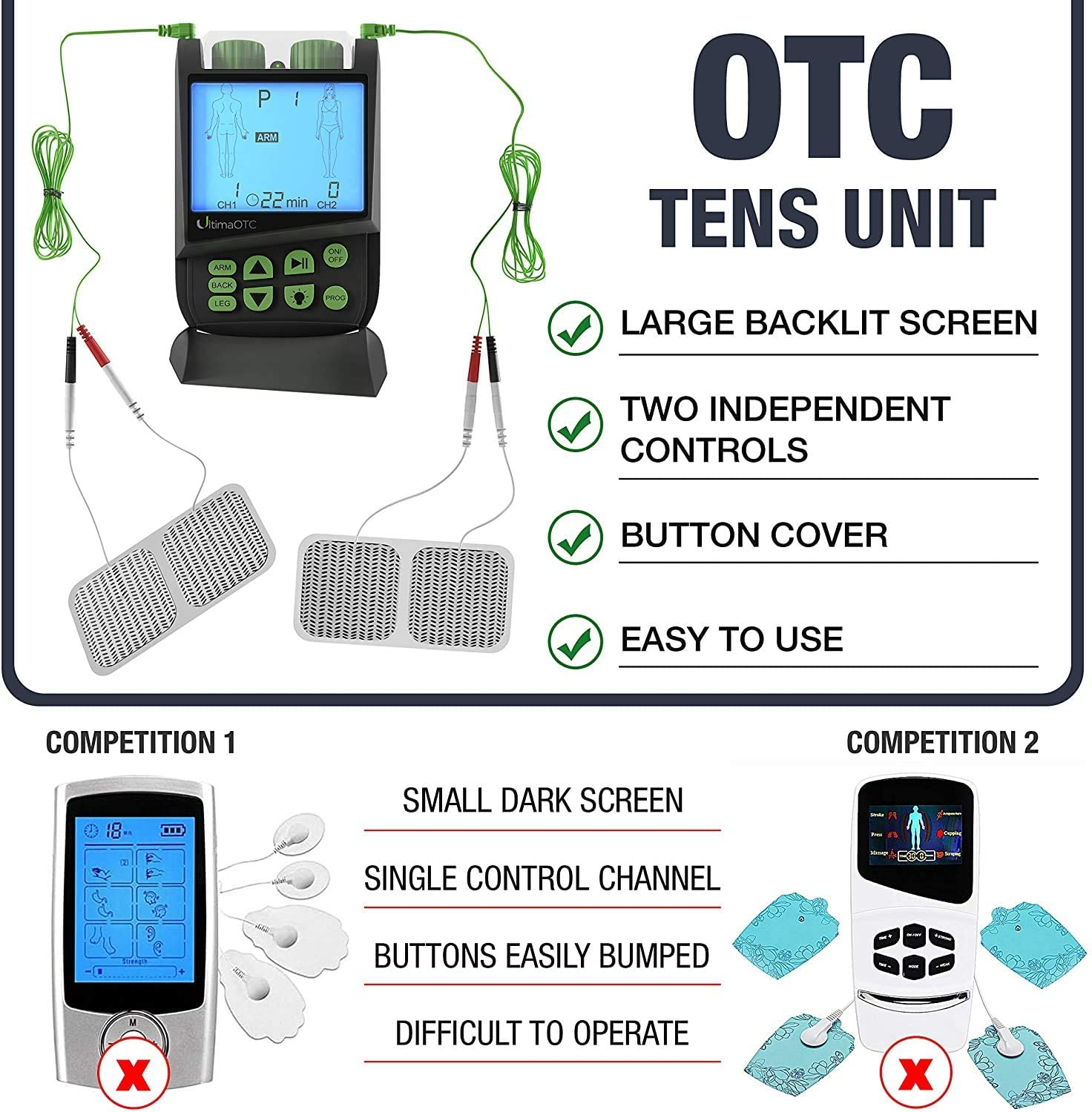 Ultima OTC TENS Massager - Electric Muscle Contraction Stimulator for Pain Relief - Massage Unit and Pain Therapy Device (White)