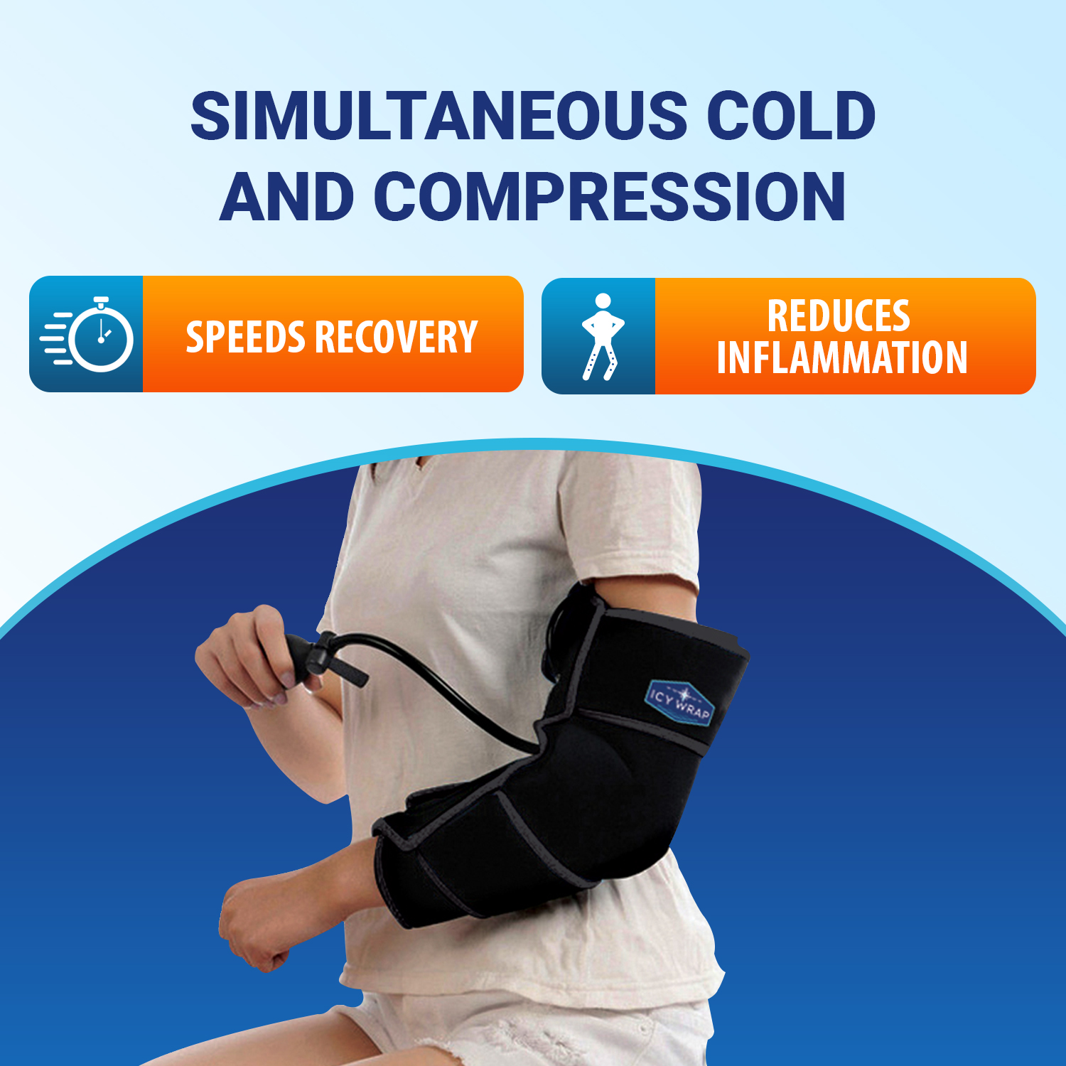 Cold Pack Compression Wrap for Elbow by Icy Wrap - Ice Pack Therapy Cryo-Cool Flexible Treatment for Injuries, Aches, Swelling, Sprains, Inflammation