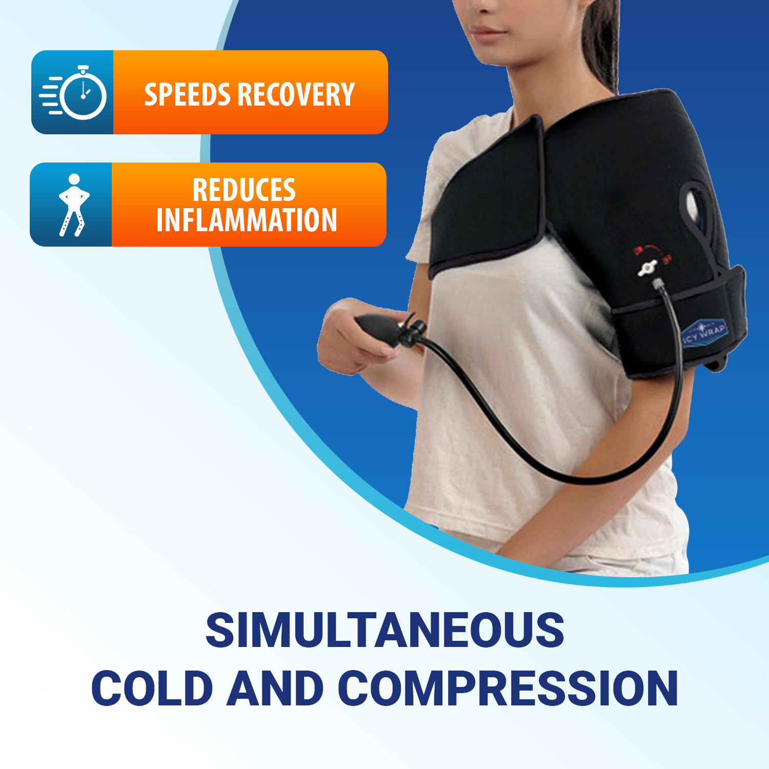 Cold Pack Compression Wrap for Shoulder Pain - Ice Pack Therapy by Icy Wrap - Cryo-Cool Flexible Treatment for Injuries, Aches, Swelling, Sprains, Inflammation of Rotator Cuff