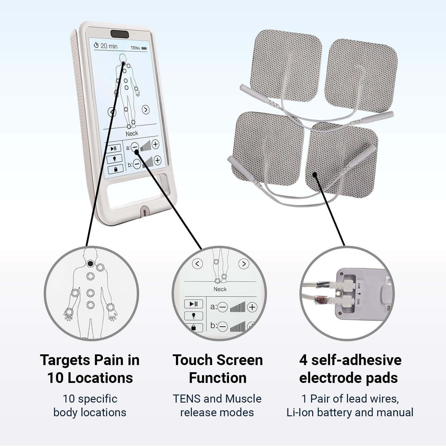 Touch Screen TENS and EMS Massager by Touch Stim - Electric Muscle Contraction Stimulator for Pain Relief - Massage Unit and Pain Therapy Device (white)