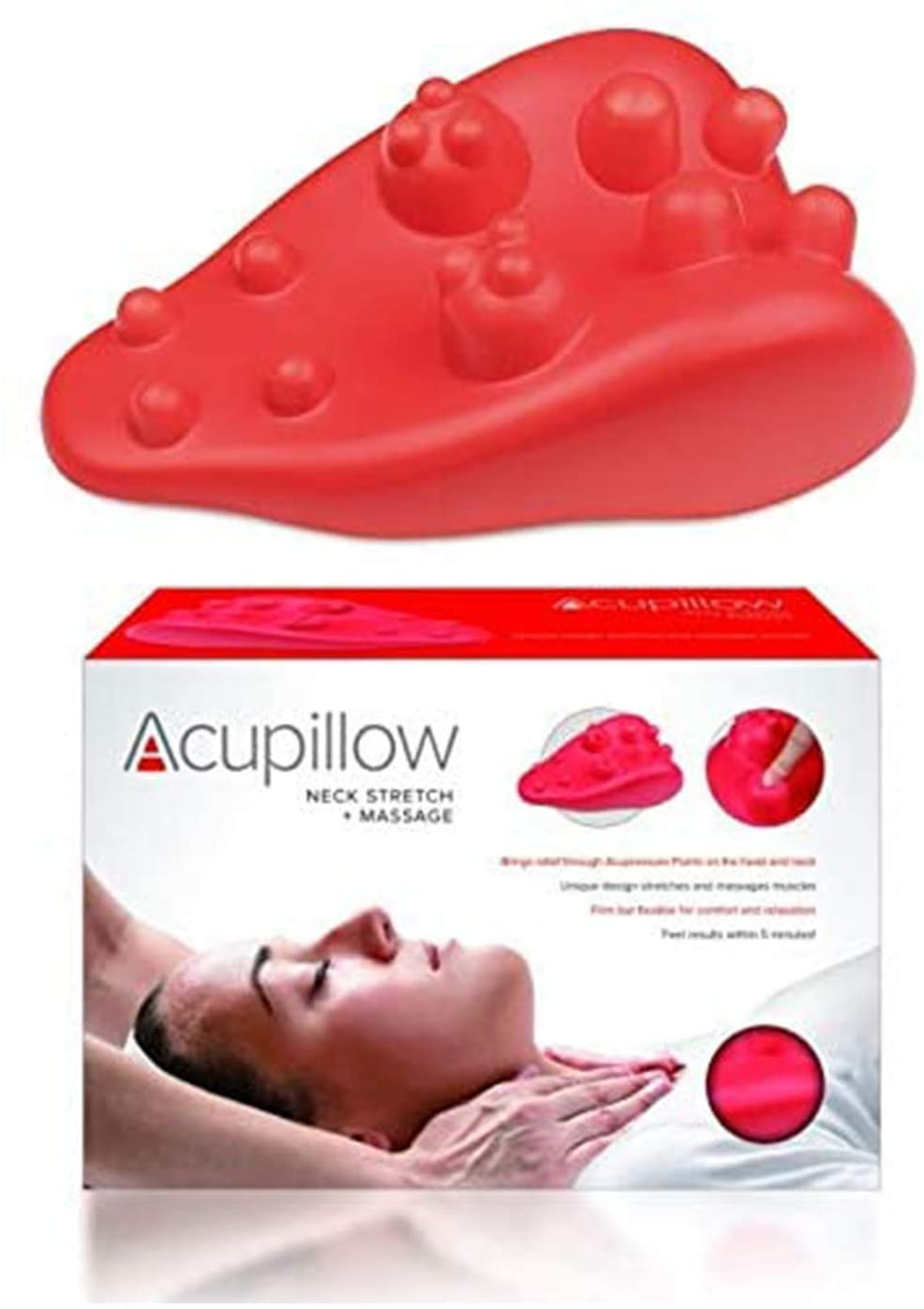 Neck Stretch Massage Trigger Point Chiropractic Pillow by Acupillow - Cervical Traction Stretcher Device - Myofascial Release of Pressure Point - Neck Pain