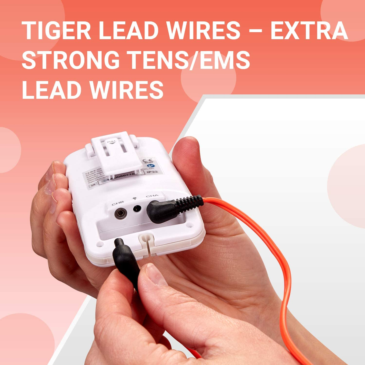 Universal TENS Lead Wires by PMT, Fits Most All Electrotherapy Devices and TENS/EMS electrodes (Premium Grade)