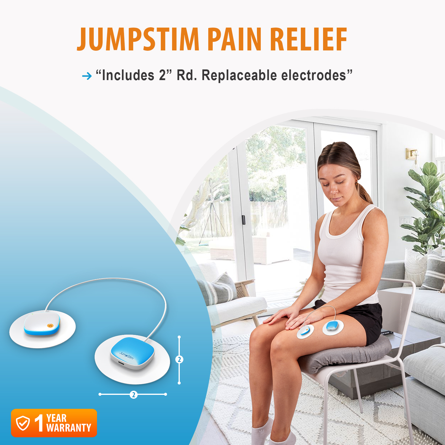 JumpStim TENS Muscle Massager Double Pad Electrode Stimulator – Rechargeable, Portable, Wearable Adhesive 5 Speed Massage Relief Therapy Device for Back Pain, Neck Strain, Achy Feet, Sports Injury