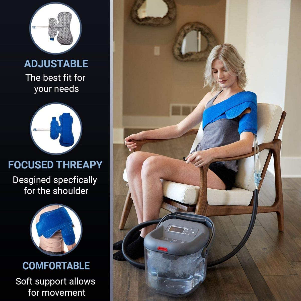 Cold Water Therapy Shoulder Pad for Cryotherapy Unit - Pad Only for Circulating Ice Machine for Surgery, Rotator Cuff [Color: Black]