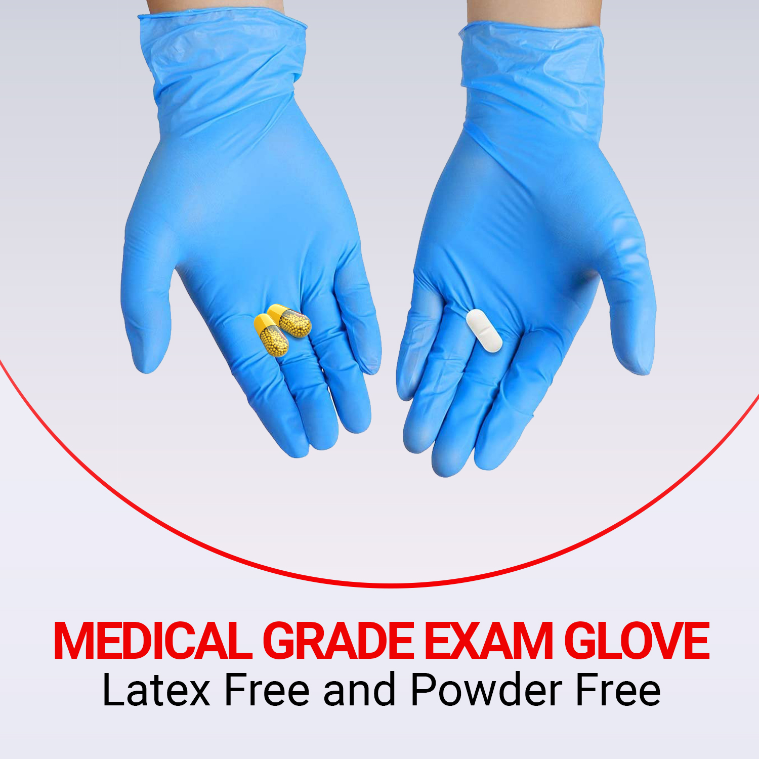 Disposable Synmax Hybrid Nitrile Vinyl Exam Gloves - 4 Mil-Thick -Latex Free Powder Free, Food Safe, Cleaning Gloves-Blue - Large