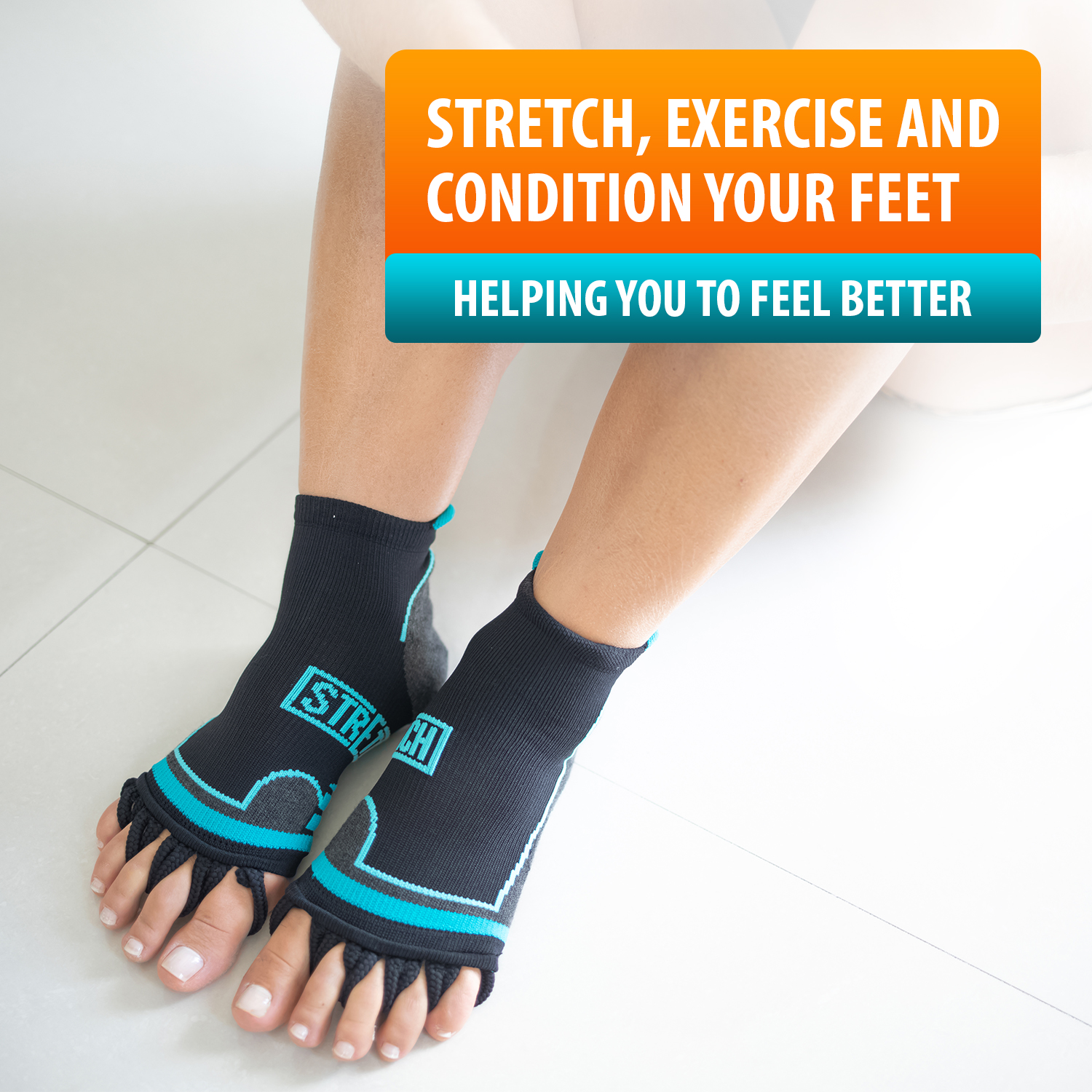 Toe Separator Socks by Stretch; Toe Spacer Foot Alignment Sock for Bunion Relief