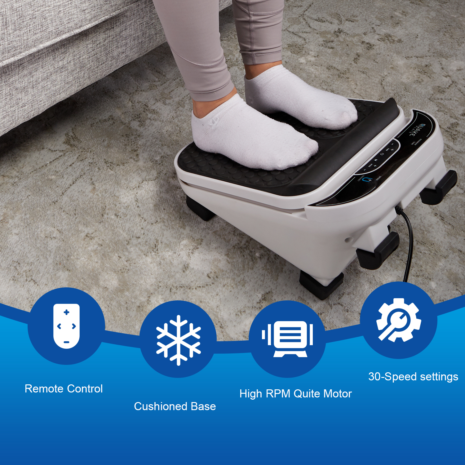 Foot Muscle Massager by Quake Plate High RPM Oscillating Deep Tissue Foot Massager Relaxing Muscle Massage for Foot Pain, Calf Relief, 30 Speed Vibrate with IR Remote