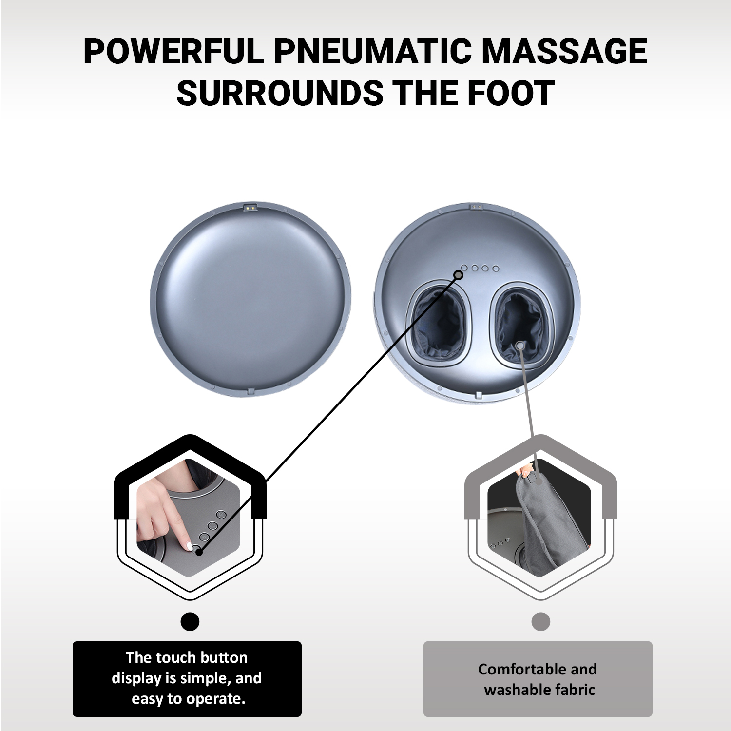 Ottoman Foot Massager by Ottossage, Massaging Ottoman with Removable Lid provides Air Compression, Shiatsu kneading, intense vibration and heat therapy. Extra Powerful with upgraded li-ion battery.