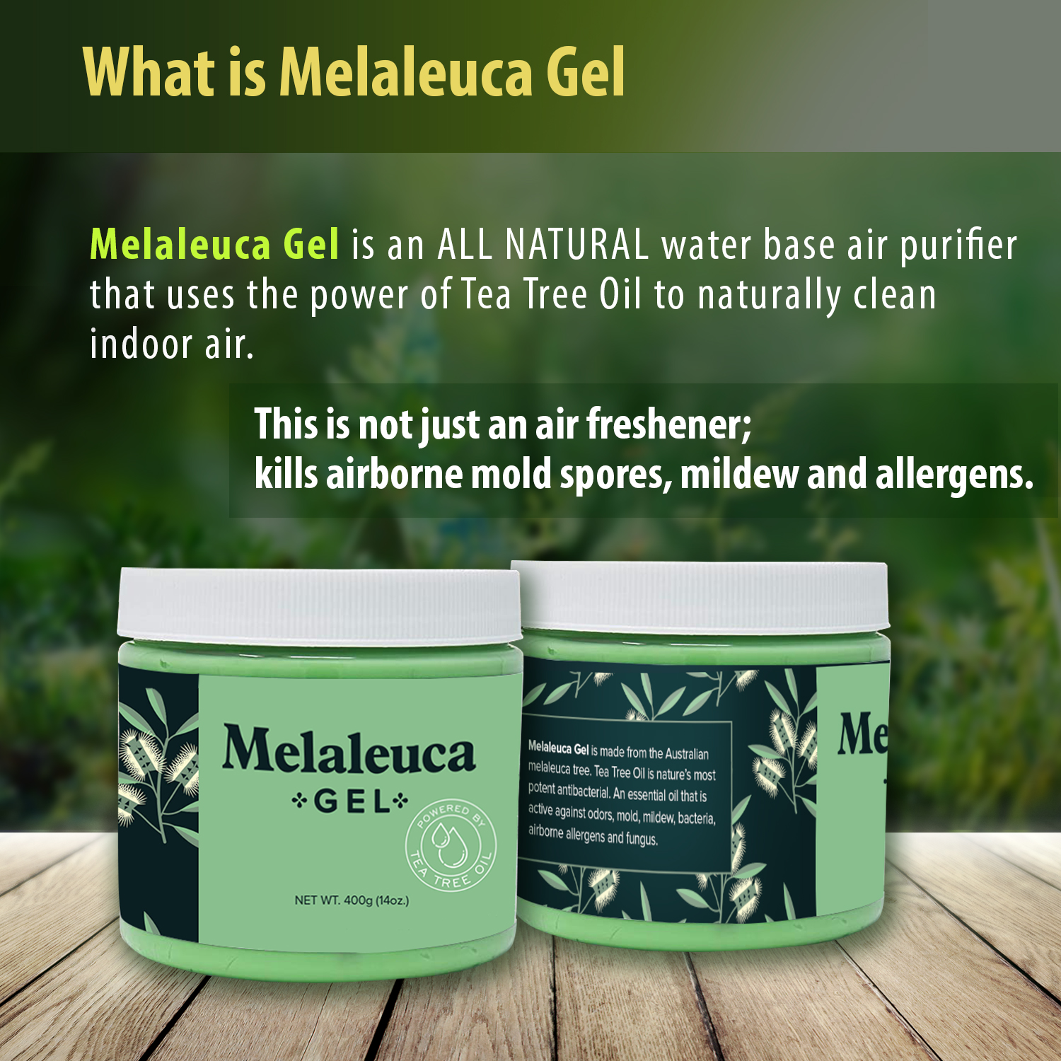 Melaleuca Gel All Natural Odor Eater with 100% Australian Tea Tree Essential Oil that naturally cleans the air of allergens. Clean air in moist basements, RV's, Boats, and more
