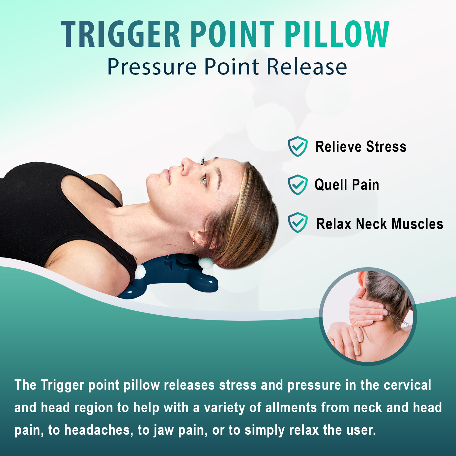 Trigger Point Pillow - Head and Neck Pain Relief Traction Device, Support Relaxer for Tension Headache Relief for Improved Decompression