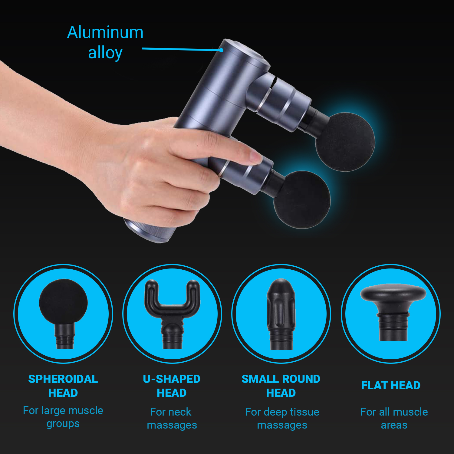 Double Head Percussion Massage Gun by Body Drummer Double - Whisper Quiet - Deep Tissue Pain Relief with 4 Massage Heads High RPM vibrational Relaxation - Rechargeable Battery