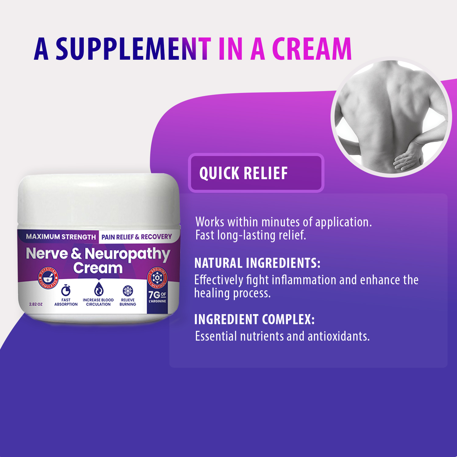 Nerve & Neuropathy Cream by NerveSpa - Maximum Strength Relief for Foot, Hands, Legs, Toes Includes 7grams of L'Arginine; Vitamin B6, Menthol, Aloe - improve blood circulation and Relieve pain -2.82oz