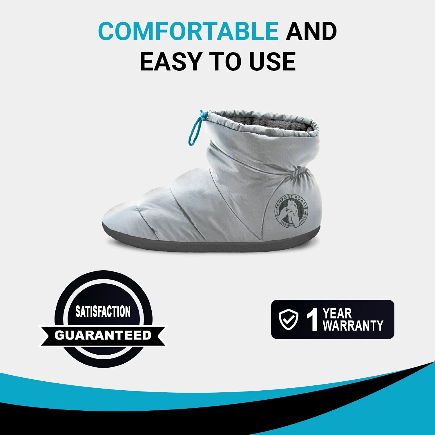 Infrared Heated Foot Warmers by Comfort Bootie - Far Infrared wavelength 8-15 μm, Non-Slip Heated Slippers with Wireless li-ion Rechargeable Batteries – Improve Circulation in The feet. (Medium: 8-9)