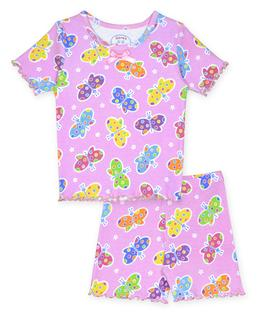 Sara's Prints Girls Fitted Short Pajama Set