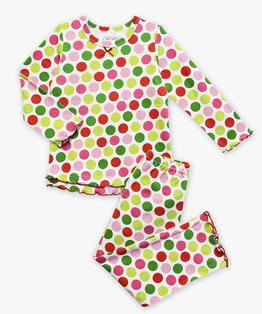 Sara's Prints Girls Ruffle Top & Pant Pajama Set