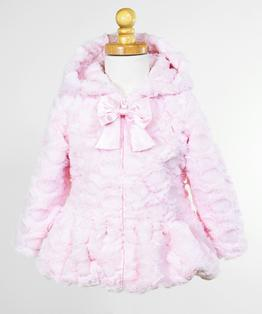 Hooded Big Bow, Zip Front Faux Fur Coat