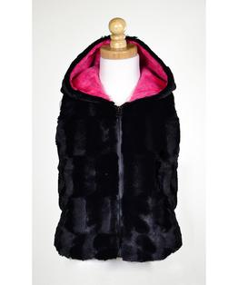 Hooded Zip Front Faux Fur Vest