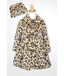 Button Up Leopard Coat & Hat Set