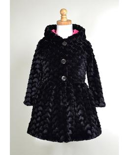 Button Front Faux Heart Fur Hooded Dirndl Coat