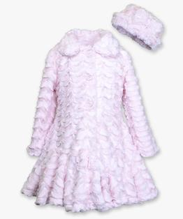 Flounce Skirt Bottom Faux Fur Coat & Hat Set