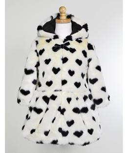 Faux Fur with Black Hearts, Zip Front Hooded Coat with Bow