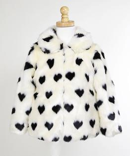 Faux Fur with Black Hearts, Zip Front Fashion Jacket with Hat