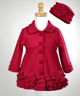Flower Fleece Coat with Velvet Accent & Hat Set