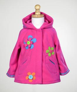Hooded Zip Front Fleece Coat with Flower Applique