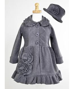 Button Front Bell Fleece Coat with Flowers & Hat Set