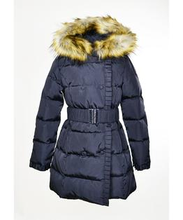 Nylon Down Coat with Fur Trimmed Hood