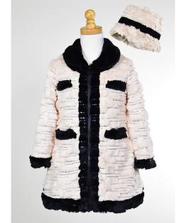 Contrast Trim Sequin Faux Fur Coat & Hat Set