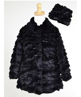 Sequin Sparkle Faux Fur Coat & Hat Set