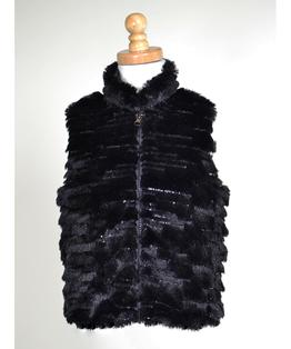 Sequin Sparkle Faux Fur Vest